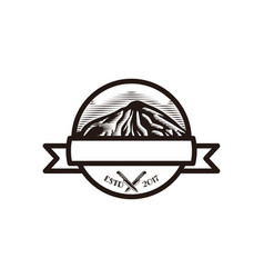 hand drawn mountain knife adventure logo designs vector image