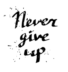 Hand drawn typography poster Never give up vector image