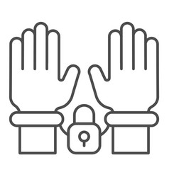 Handcuffs on hands thin line icon arrest vector