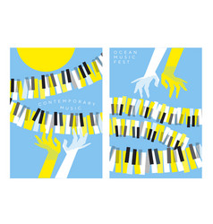 hands and piano keys over blue sky and yellow sun vector image