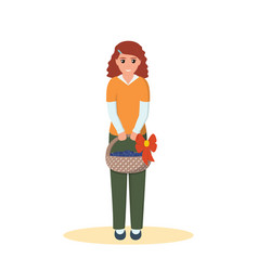 Happy cute girl holding a basket crops vector