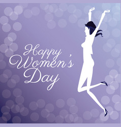 happy womens day- jumping girl poster bubbles vector image