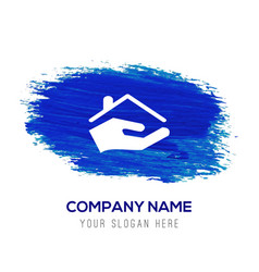 Home insurance icon - blue watercolor background vector