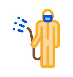 human with chemical aerosol icon outline vector image