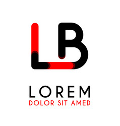 initial letter lb with red black and has rounded vector image