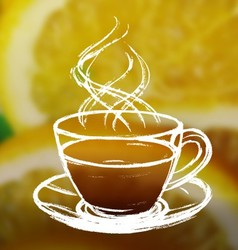 Ink hand drawn cup of tea on blurred photo vector