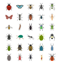 Insects flat icons pack vector