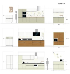 Kitchen furniture Interior vector
