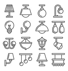 lamp icons set on white background line style vector image