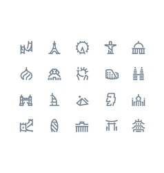 Landmarks icons Line series vector image