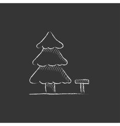 Landscape Drawn in chalk icon vector