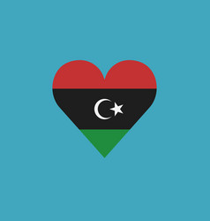 libya flag icon in a heart shape in flat design vector image