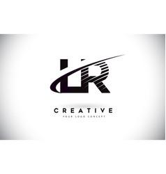 Lr l r letter logo design with swoosh and black vector