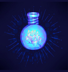 Magic potion blue bottle jar set with crystals vector