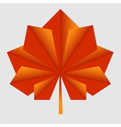 Maple origami orange leaf vector