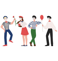 Mimes man and woman pantomime vector
