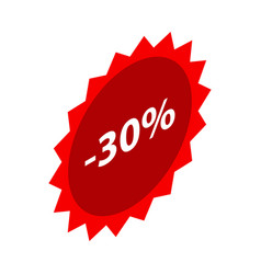 minus 30 percent sale red emblem icon isometric vector image