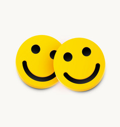 modern yellow laughing two smiles friendship vector image