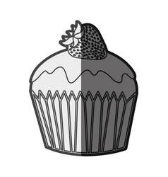 Monochrome silhouette cupcake with strawberry vector