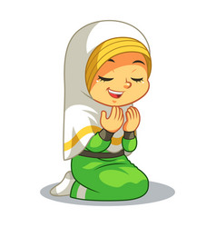 Moslem girl praying dua vector