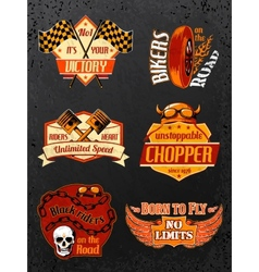 Motorcycle bike badges set vector