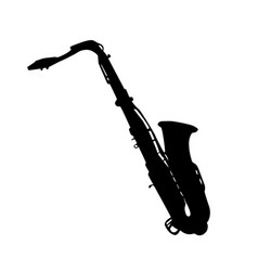 musical instrument silhouette saxophone vector image