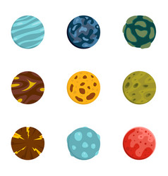 Mystery planet icons set flat style vector