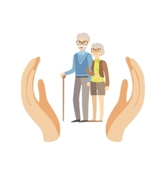 Old Couple Protected By Two Palms vector