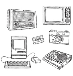 Old media equipment vector
