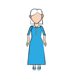 Old woman with hairstyle and long dress vector
