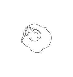 one single line drawing fresh sunny side up vector image