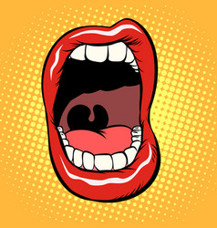 open mouth with teeth isolate on white background vector image