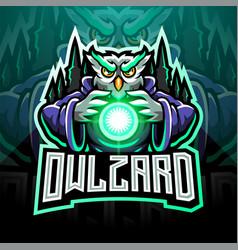 Owl wizard esport mascot logo vector