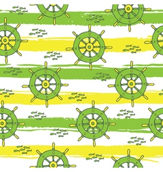 pattern with anchor and fish stripes green yellow vector image