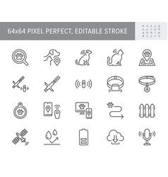 Pet tracking line icons vector