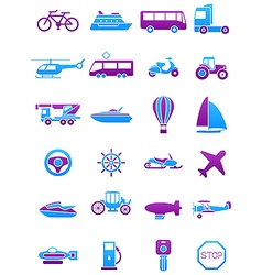 Pink blue transport icons set vector image