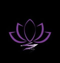 purple lotus on black background vector image
