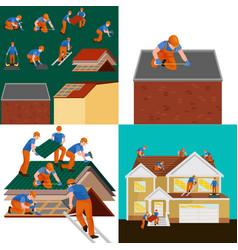 roconstruction worker repair home build vector image