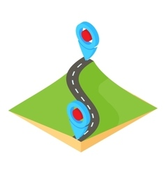 Route map icon cartoon style vector