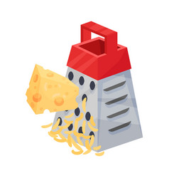 Rubbing piece of cheese on a grater with red vector