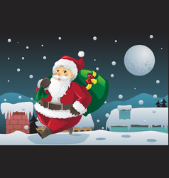 Santa claus carrying christmas presents vector