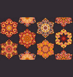 seamless pattern morrocan vitrage ornament floral vector image