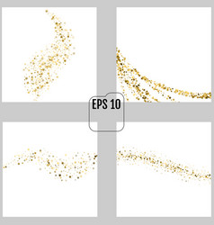 Set confetti cover from gold stars paths like vector
