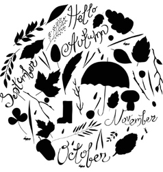 Set of autumn items black and white silhouettes vector
