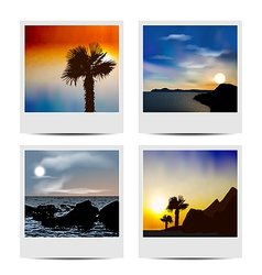 Set photo frames with beaches vector