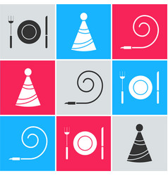 set plate fork and knife party hat and birthday vector image