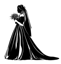 Silhouette of a bride standing with a bouquet of vector