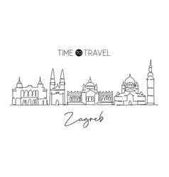 single continuous line drawing zagreb city vector image