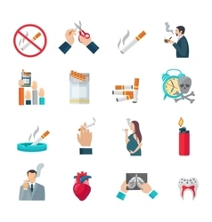 Smoking Flat Icons Set vector