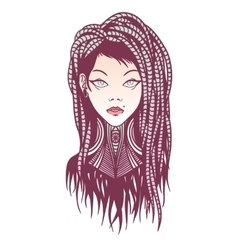 Stylish girl with dreadlocks tattoo and piercing vector